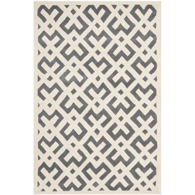 Wilkin Dark Grey/Ivory Area Rug Rug Size: 6 x 9