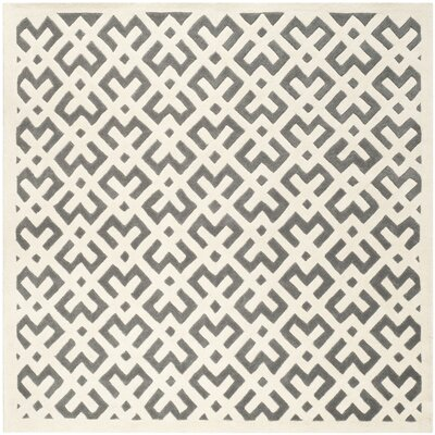 Wilkin Dark Grey/Ivory Area Rug Rug Size: Square 7