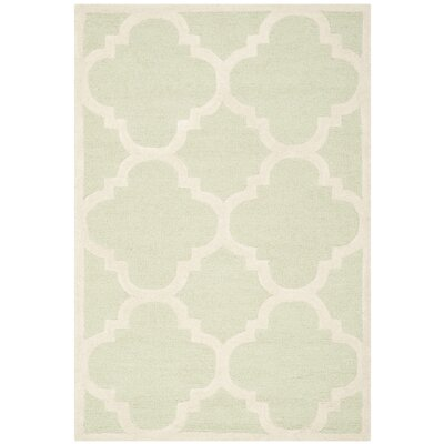 Charlenne Wool Light Green / Ivory Area Rug Rug Size: Rectangle 4 x 6