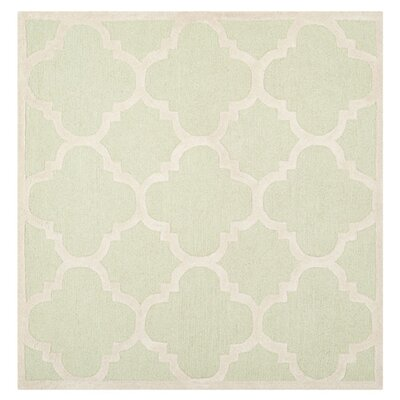 Charlenne Wool Light Green / Ivory Area Rug Rug Size: Square 8