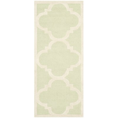 Charlenne Wool Light Green / Ivory Area Rug Rug Size: Runner 26 x 6