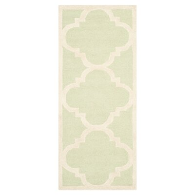Charlenne Wool Light Green / Ivory Area Rug Rug Size: Runner 26 x 12