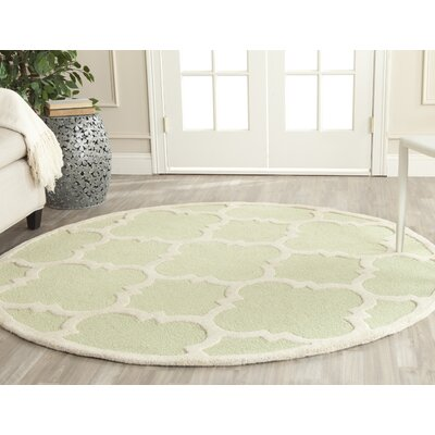 Martins Light Green / Ivory Area Rug Rug Size: Round 6