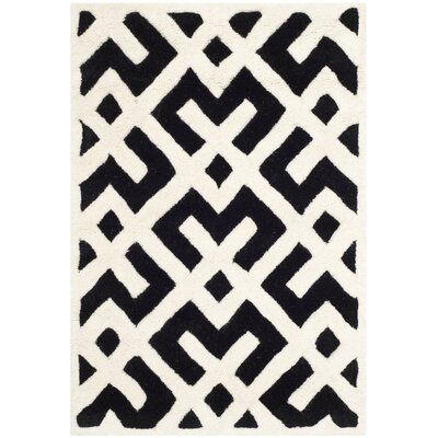 Wilkin Black / Ivory Area Rug Rug Size: Rectangle 2 x 3