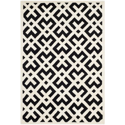 Wilkin Black / Ivory Area Rug Rug Size: Rectangle 4 x 6