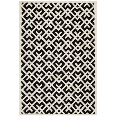 Wilkin Black / Ivory Area Rug Rug Size: Rectangle 8 x 10