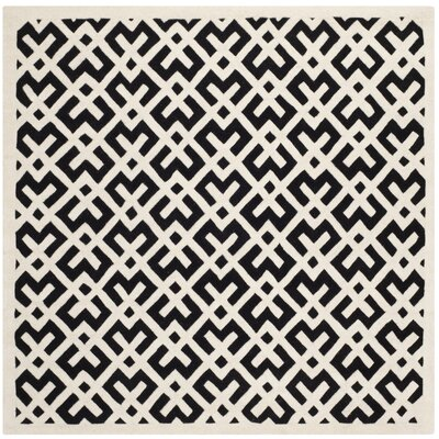 Wilkin Black / Ivory Area Rug Rug Size: Square 7