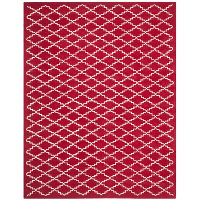 Wilkin Hand-Tufted Wool Red/Ivory Area Rug Rug Size: Rectangle 8 x 10