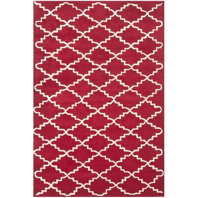 Wilkin Hand-Tufted Wool Red/Ivory Area Rug Rug Size: Rectangle 4 x 6