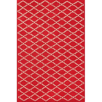 Wilkin Hand-Tufted Wool Red/Ivory Area Rug Rug Size: Rectangle 6 x 9