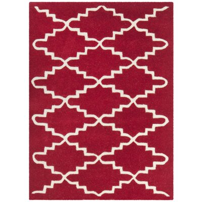 Wilkin Hand-Tufted Wool Red/Ivory Area Rug Rug Size: Rectangle 2 x 3