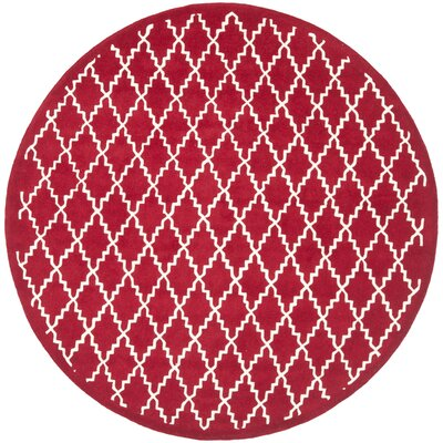 Wilkin Hand-Tufted Wool Red/Ivory Area Rug Rug Size: Round 7