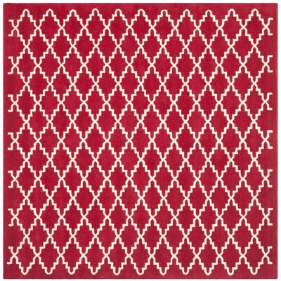 Wilkin Hand-Tufted Wool Red/Ivory Area Rug Rug Size: Square 7