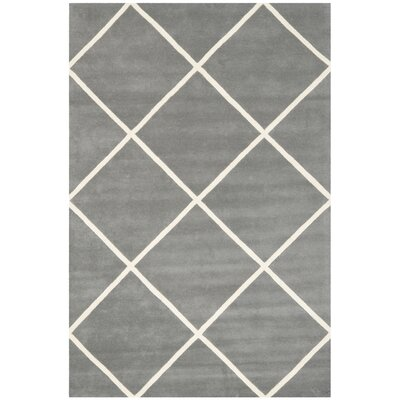 Wilkin Hand-Tufted Wool Dark Gray/Ivory Area Rug Rug Size: Rectangle 8 x 10