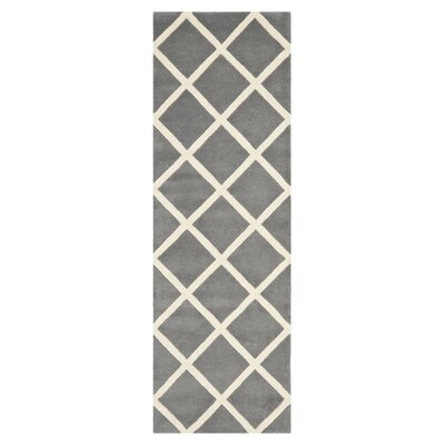 Wilkin Hand-Tufted Wool Dark Gray/Ivory Area Rug Rug Size: Runner 23 x 9
