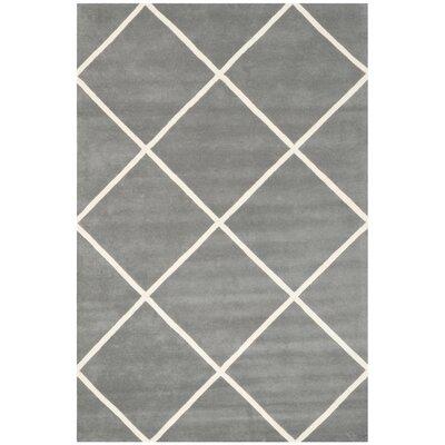 Wilkin Dark Grey & Ivory Area Rug Rug Size: 5 x 8