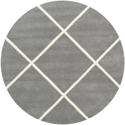 Wilkin Hand-Tufted Wool Dark Gray/Ivory Area Rug Rug Size: Round 7