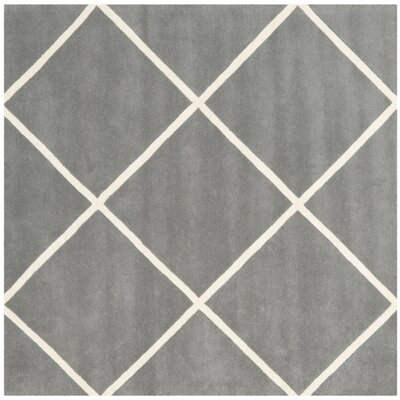 Wilkin Hand-Tufted Wool Dark Gray/Ivory Area Rug Rug Size: Square 7