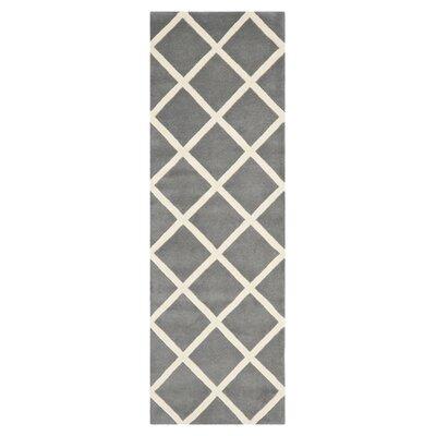 Wilkin Dark Grey & Ivory Area Rug Rug Size: Runner 23 x 5