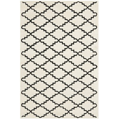 Wilkin Hand-Tufted Wool Ivory/Black Area Rug Rug Size: Rectangle 8 x 10