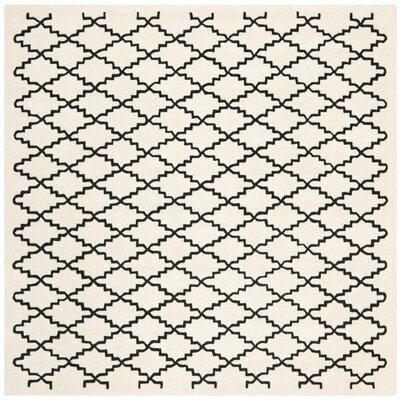 Wilkin Hand-Tufted Wool Ivory/Black Area Rug Rug Size: Square 7