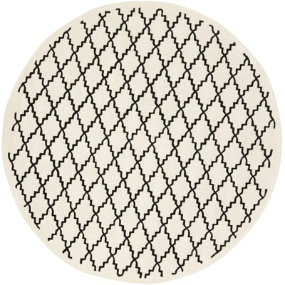 Wilkin Hand-Tufted Wool Ivory/Black Area Rug Rug Size: Round 7