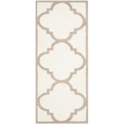 Charlenne Hand-Tufted Wool Ivory/Beige Area Rug Rug Size: Runner 26 x 8
