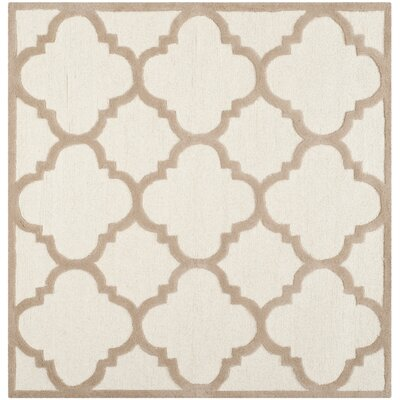 Charlenne Hand-Tufted Wool Ivory/Beige Area Rug Rug Size: Square 8