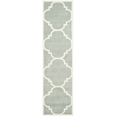 Wilkin Hand-Tufted Wool Gray/Ivory Area Rug Rug Size: Runner 23 x 13