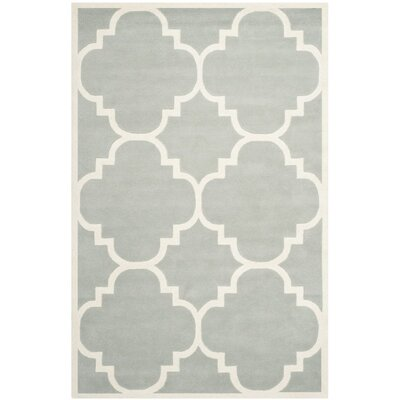 Wilkin Hand-Tufted Wool Gray/Ivory Area Rug Rug Size: Rectangle 6 x 9