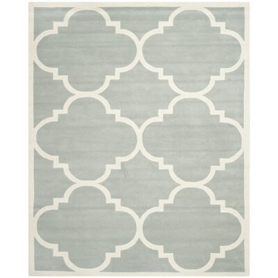 Wilkin Hand-Tufted Wool Gray/Ivory Area Rug Rug Size: Rectangle 10 x 14