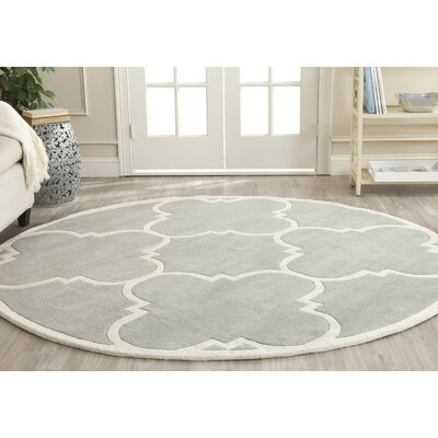 Wilkin Hand-Tufted Wool Gray/Ivory Area Rug Rug Size: Round 5