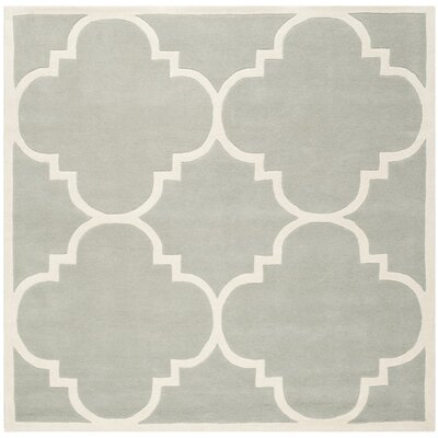 Wilkin Hand-Tufted Wool Gray/Ivory Area Rug Rug Size: Square 4