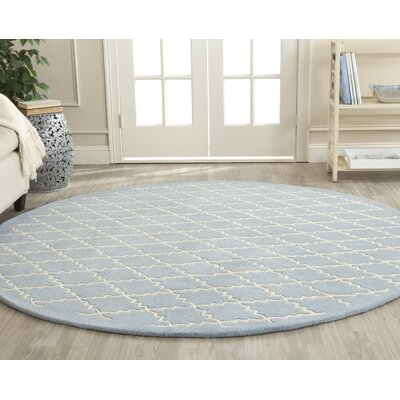 Wilkin Blue & Ivory Area Rug Rug Size: Round 7
