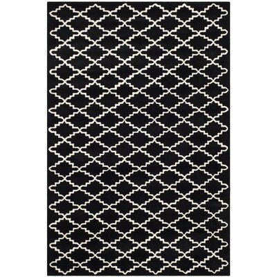 Wilkin Hand-Tufted Wool Black/Ivory Area Rug Rug Size: Rectangle 6 x 9