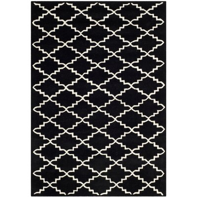 Wilkin Hand-Tufted Wool Black/Ivory Area Rug Rug Size: Rectangle 4 x 6