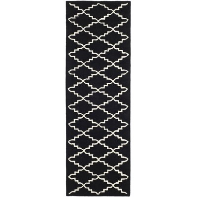 Wilkin Hand-Tufted Wool Black/Ivory Area Rug Rug Size: Runner 23 x 7
