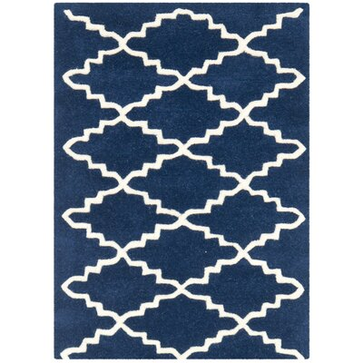 Wilkin Hand-Tufted Wool Dark Blue Area Rug Rug Size: Rectangle 2 x 3
