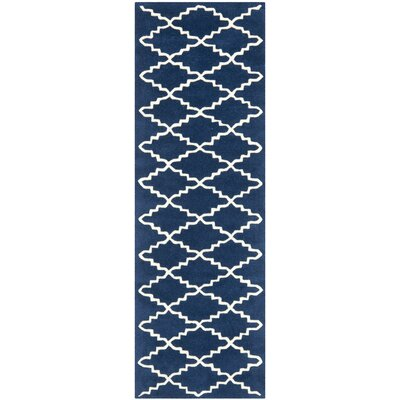 Wilkin Hand-Tufted Wool Dark Blue Area Rug Rug Size: Runner 23 x 5