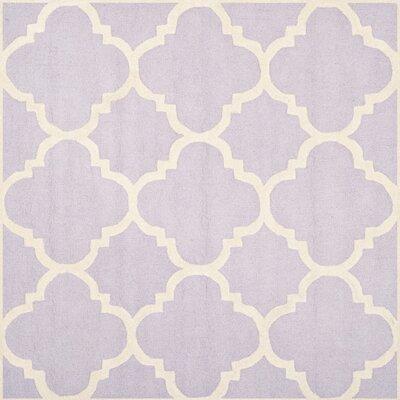 Charlenne Wool Lavander / Ivory Area Rug Rug Size: Square 8