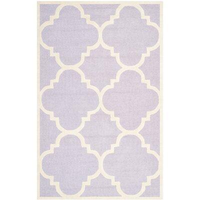 Charlenne Wool Lavander / Ivory Area Rug Rug Size: 5 x 8