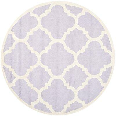 Charlenne Wool Lavander / Ivory Area Rug Rug Size: Round 6