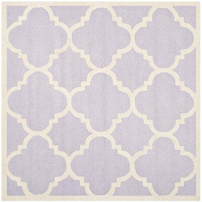 Charlenne Wool Lavander / Ivory Area Rug Rug Size: Square 6