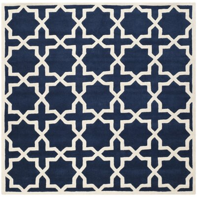 Wilkin Hand-Tufted Wool Dark Blue/Ivory Area Rug Rug Size: Square 7