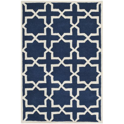 Wilkin Hand-Tufted Wool Dark Blue/Ivory Area Rug Rug Size: Rectangle 4 x 6