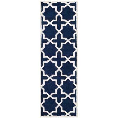 Wilkin Dark Blue / Ivory Rug Rug Size: Runner 23 x 9
