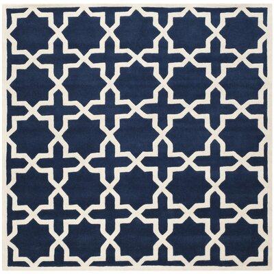 Wilkin Dark Blue / Ivory Rug Rug Size: Square 5