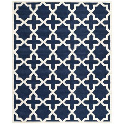 Wilkin Dark Blue / Ivory Rug Rug Size: 10 x 14