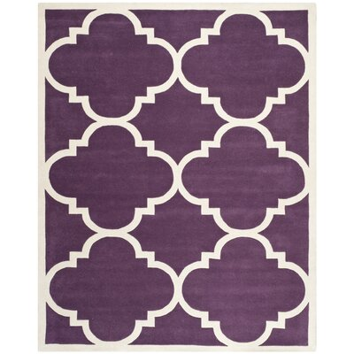 Wilkin Hand-Tufted Purple/Ivory Area Rug Rug Size: Rectangle 89 x 12