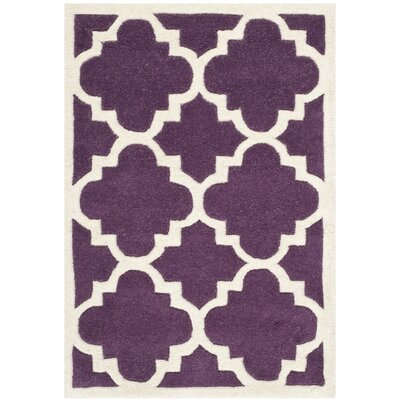 Wilkin Hand-Tufted Purple/Ivory Area Rug Rug Size: Rectangle 2 x 3